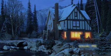 3D Snowy Cottage Full