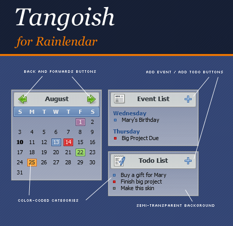 Tangoish for Rainlendar