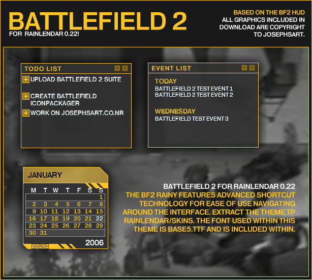 Battlefield 2 Rainlendar