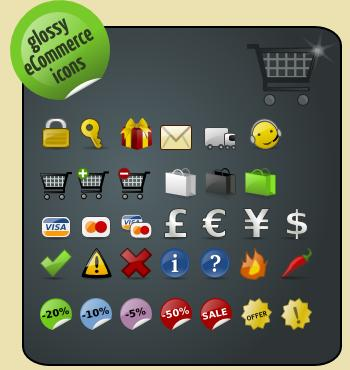 - Web 2.0 Glossy E-commerce Icons