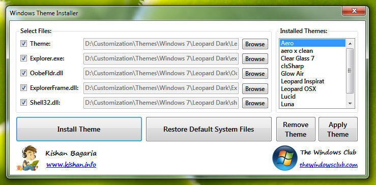 Windows themes installer for Window 07 themes