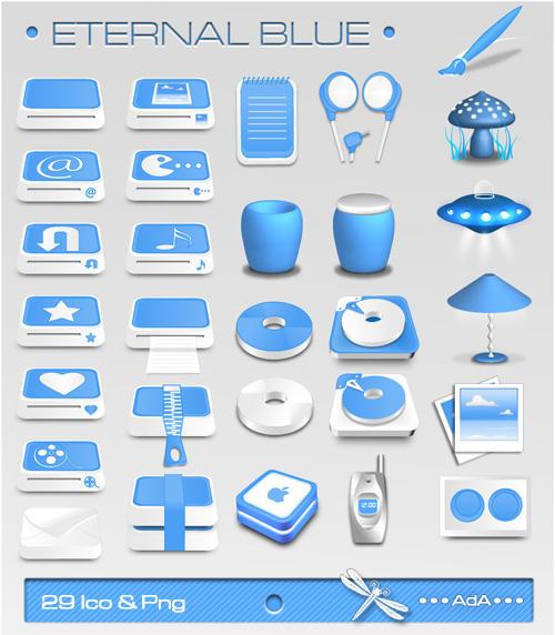 иконки голубые: