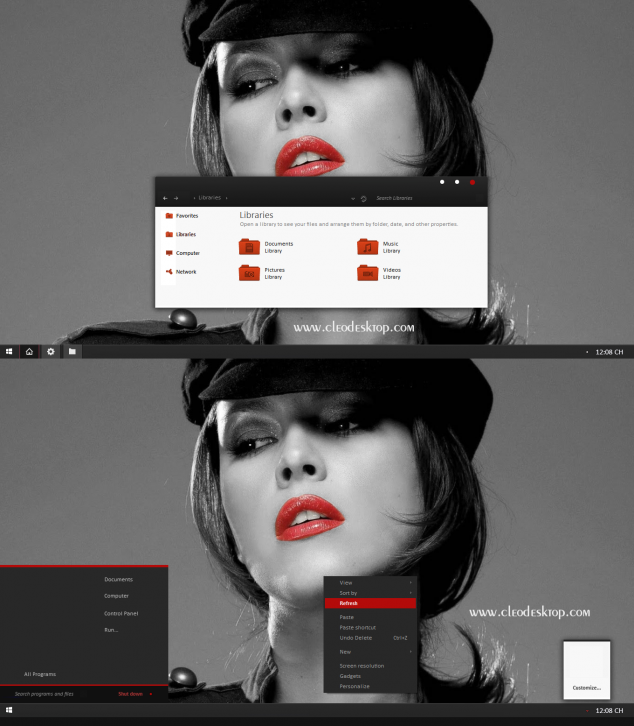 Black Red-X Theme For Windows 7