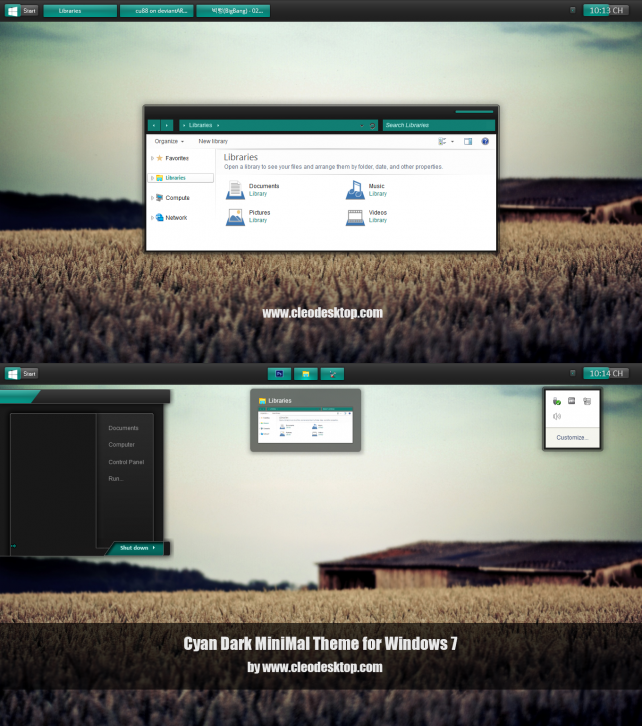 Cyan Dark MiniMal for Windows 7