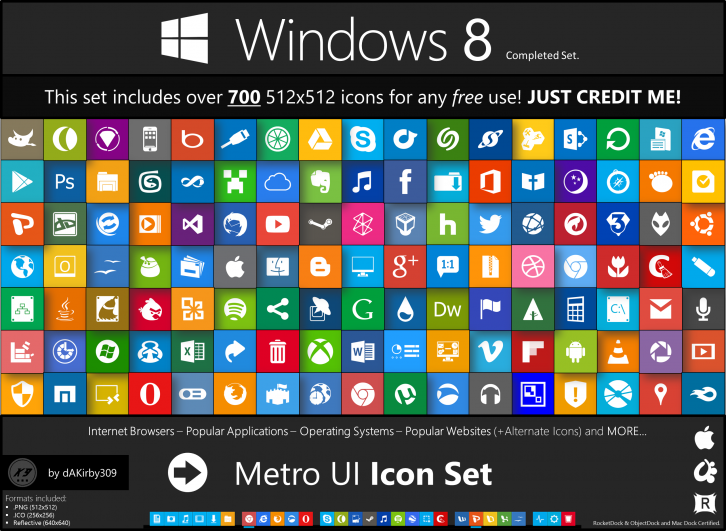 Metro UI Icon Set 725 Icons