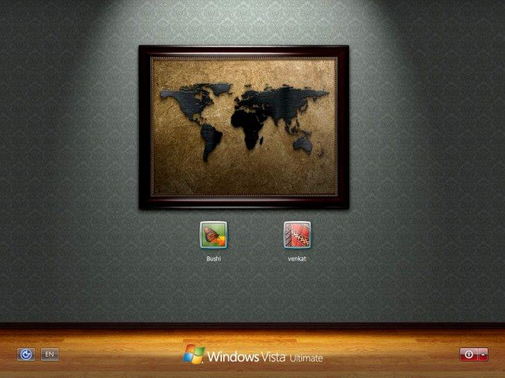 World on wall logon for xp