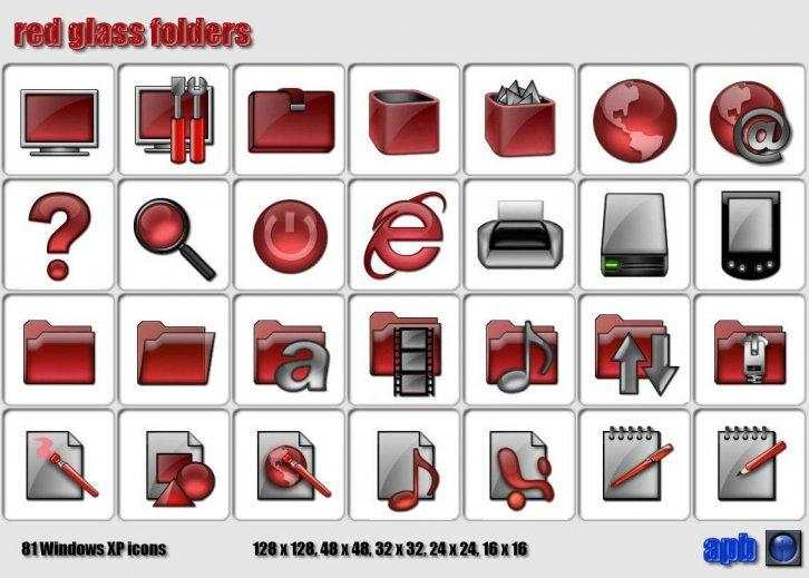 Red glass folders
