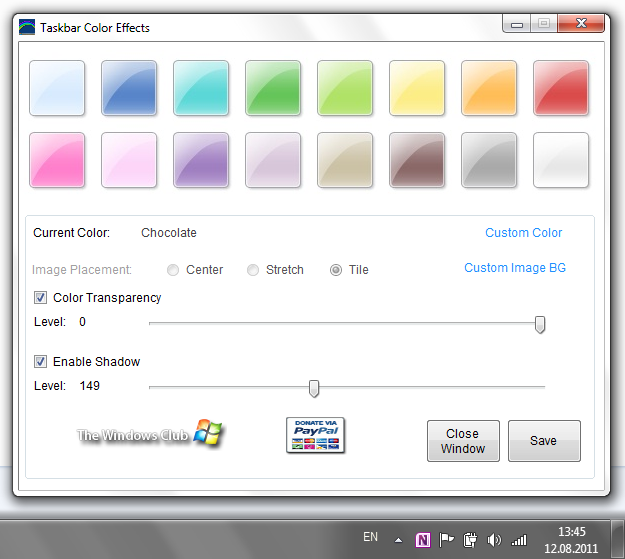 Taskbar Color Effects