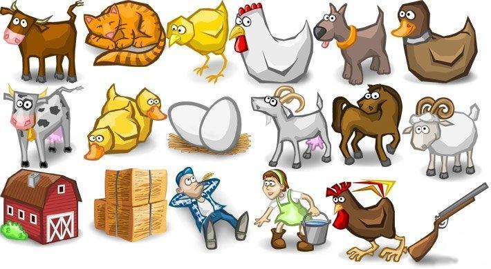 Farms cartoon animal Icons