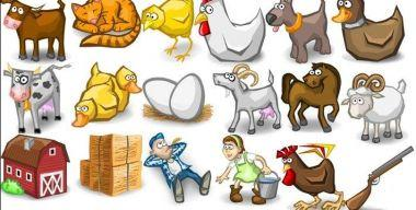 Farms cartoon animal Icons