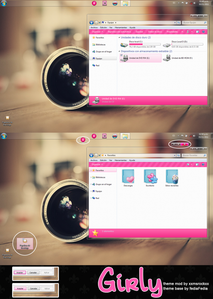 Theme w7 girly