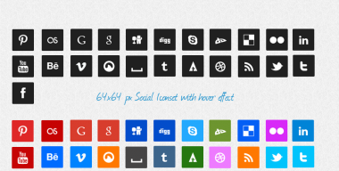 Square Social Media Icons by KL-Webmedia