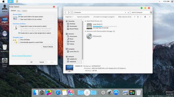 Mac OS X El Capitan theme for Win7 - Темы для Windows 7