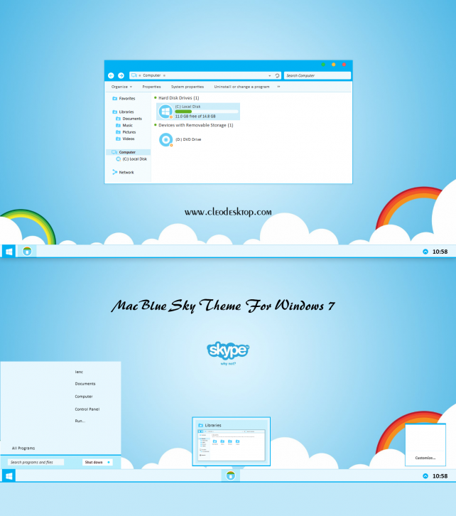 Mac Blue Sky Theme Windows 7