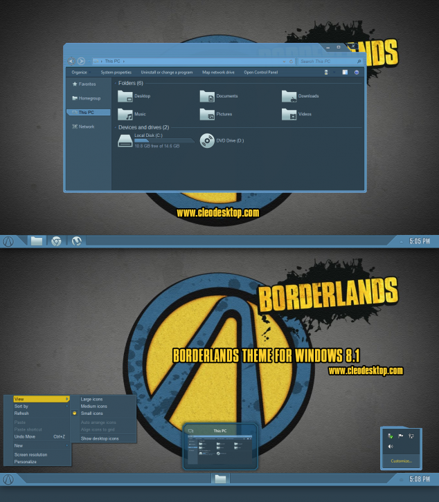 Borderlands Theme For Windows 8.1
