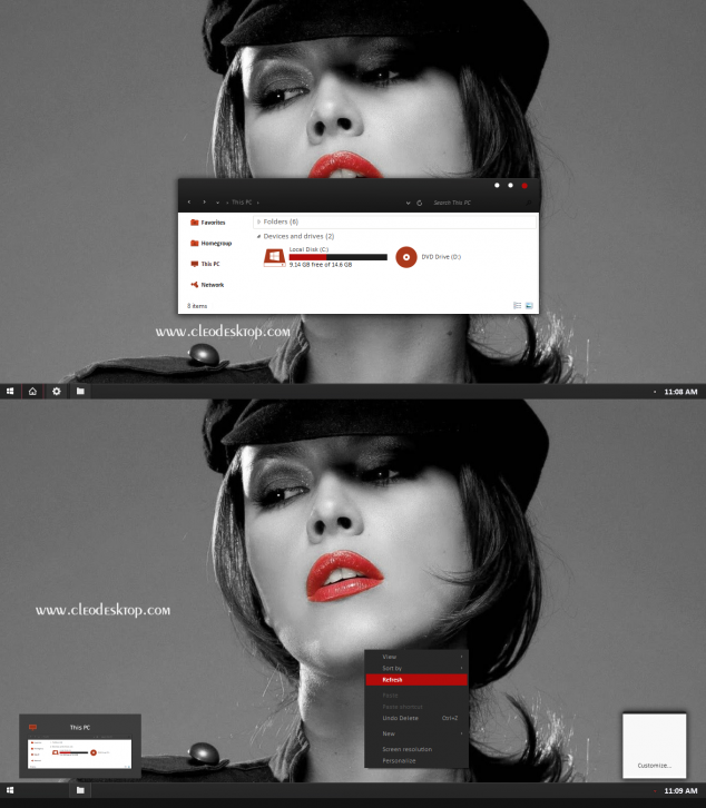 Black Red-X Theme For Windows 8.1