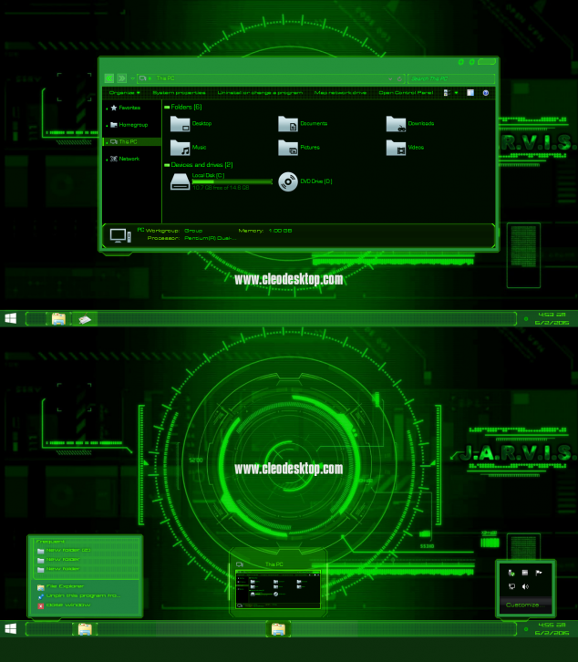 JARVIS Light Green Theme Windows 8.1