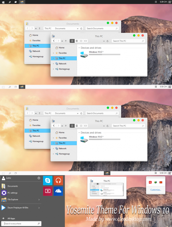 OS X Yosemite Theme For Windows 10 - Темы для windows 10