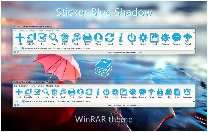 Sticker Blue Shadow WinRAR theme - WinRAR Скины Темы