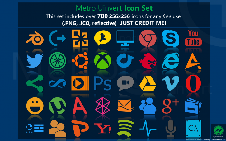 Metro Uinvert Dock Icon Set
