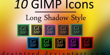 10 GIMP Icons in Long Shadow Style
