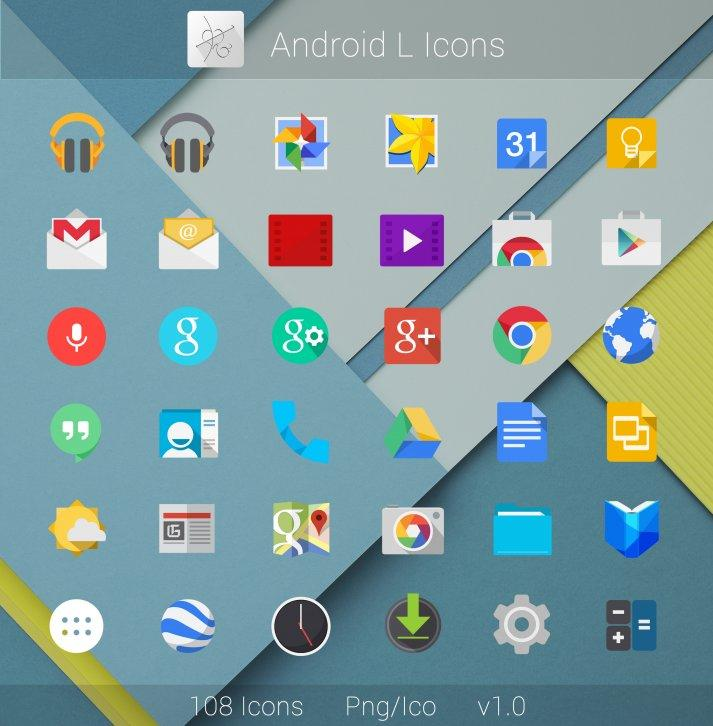 Android L Flat Icons - Иконки для Windows