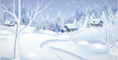 Snowfall in the village