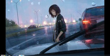 Rainfall Anime Girl