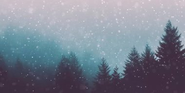 Heavy Snowing Forest